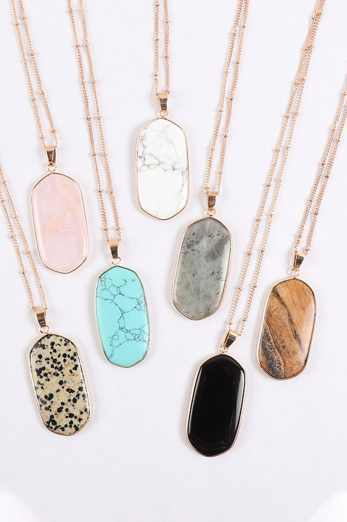 Hdn3184 - Stone Pendant Charm Necklace