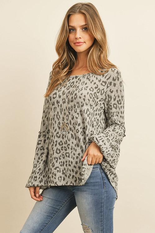 Puff Ruffle Detail Sleeve Leopard Top
