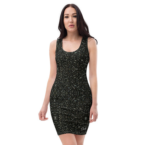 Dave Black Glitter Effect Fitted Dress