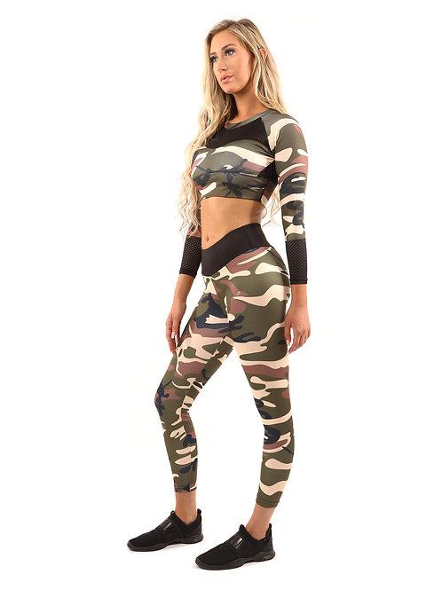 Virginia Camouflage Set - Leggings & Sports Bra - Brown/Green