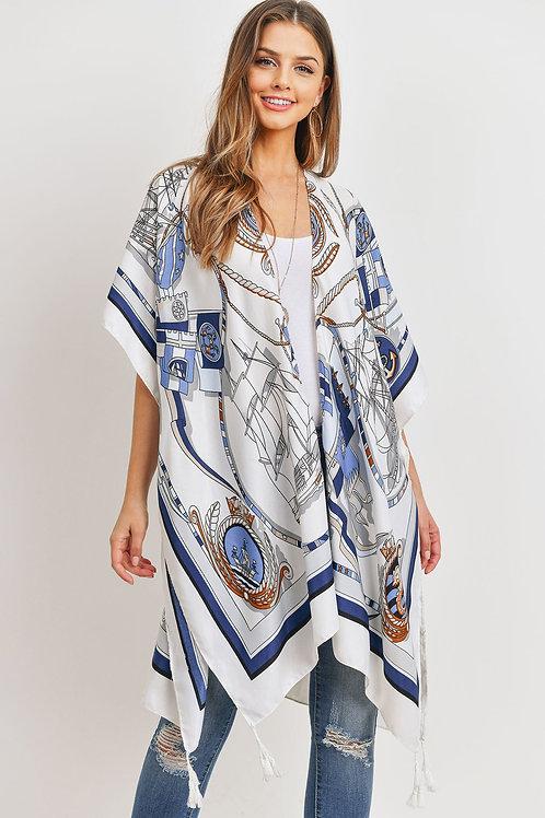 Hdf3176 - Sailors Inspired Pattern Open Front Kimono