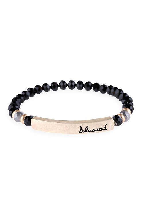 """Hdb3007 - """"Blessed"""" Rondelle Beads Stretchable Bracelet"""