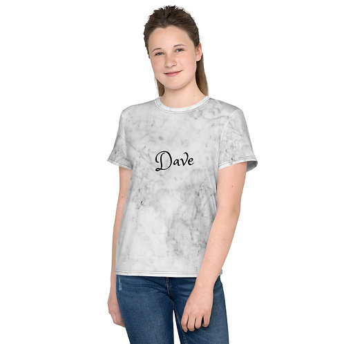Dave White Marble Effect Kids T-Shirt
