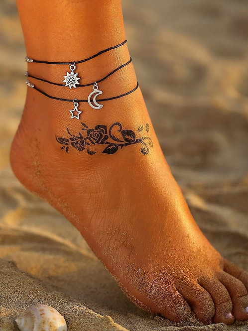 Sun Moon Star Bohemian Triple Layered Anklet Ankle Bracelet
