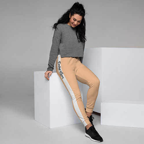 Daves Gym Nude With White Stripe Womens Joggers