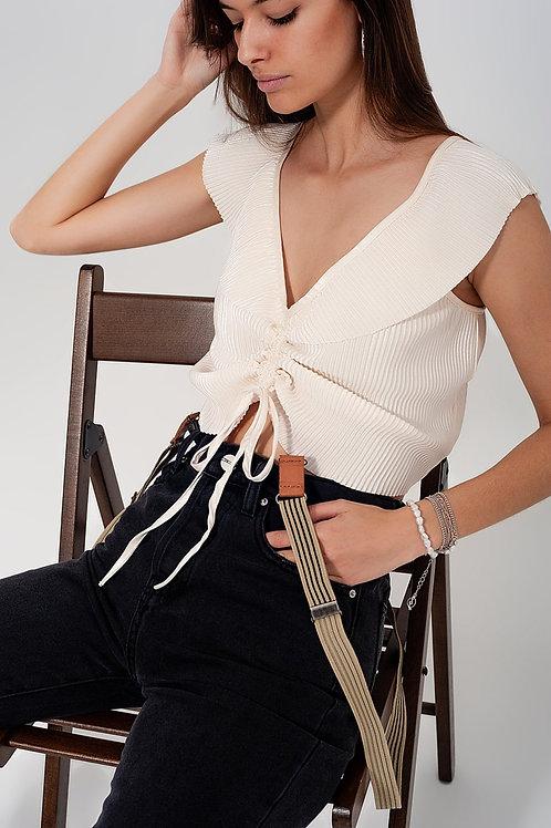 Tie Front Shirred Detail Volume Sleeve Crop Top in Cream