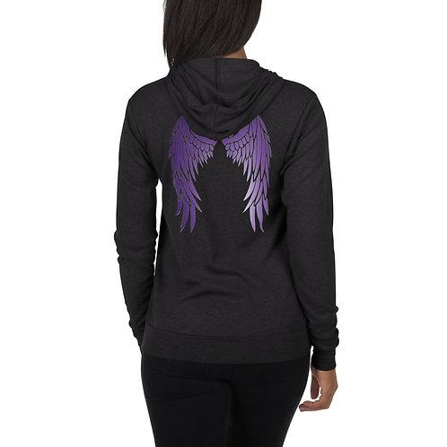Dave x Gifted Girl Purple wings zipped hoodie