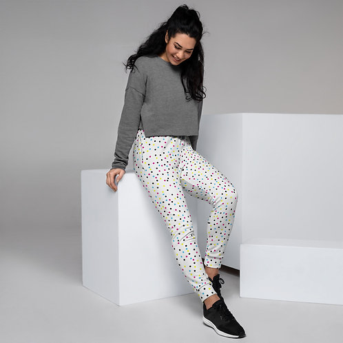 Dave Coloured Spots White Womens Joggers