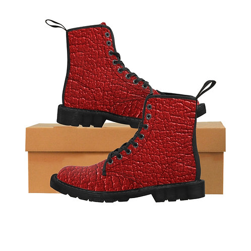 Dave Red Leather Look Canvas Boots