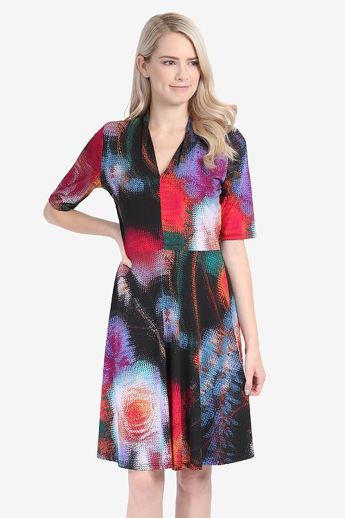 Multi Print V-Neck Dress