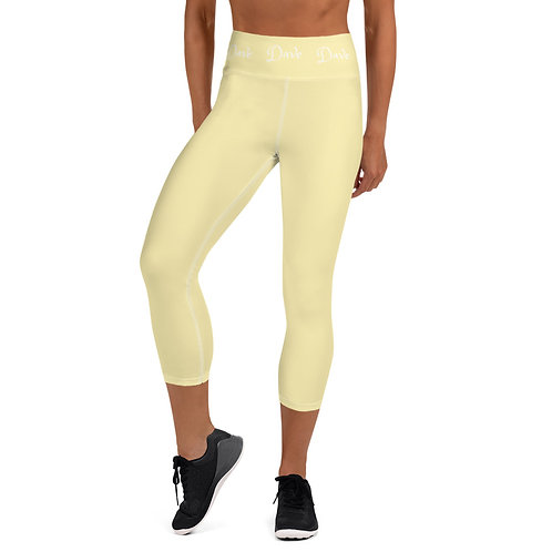 Daves Gym Pastel Yellow Dave Waistband Womens Leggings