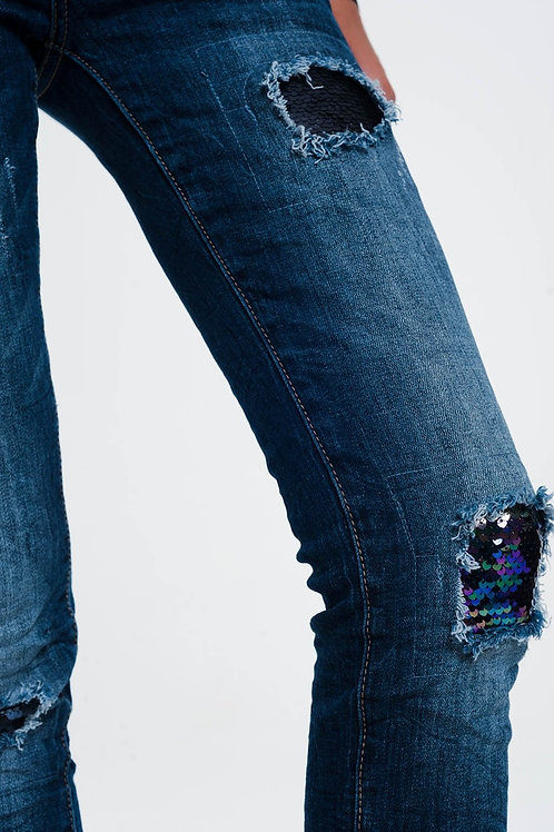 Jeans With Sequins and Rips