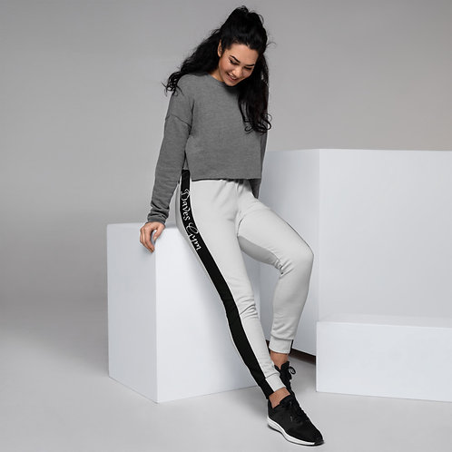 Daves Gym Pale Grey With Black Stripe Womens Joggers