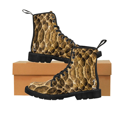 Dave Snake Skin Print Mens Canvas Boots
