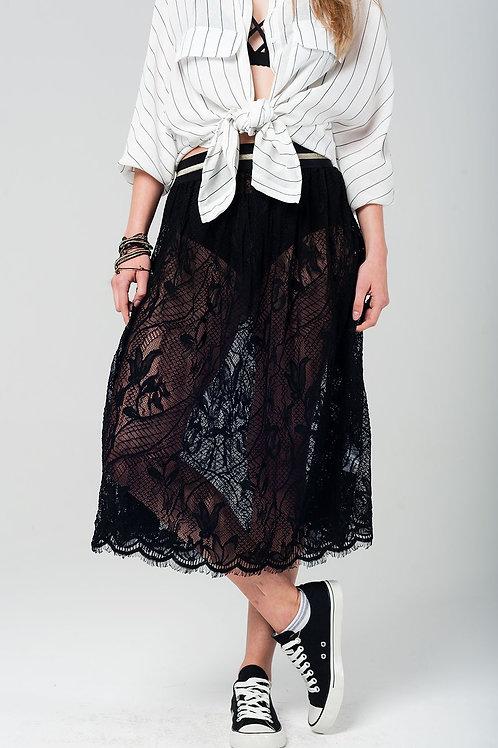 Black Lace Midi Skirt