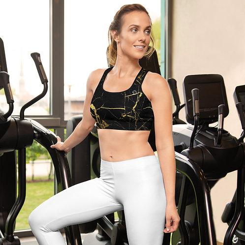 Daves Gym Womens Black Marble Sports Bra