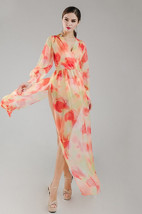 Orange Chiffon Floral Maxi Dress