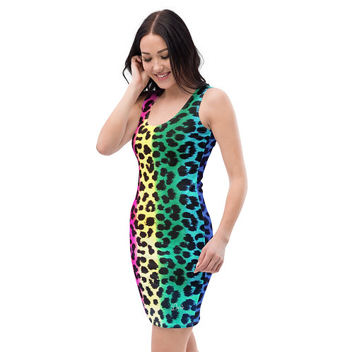 Dave Neon Cheetah Print Fitted Dress