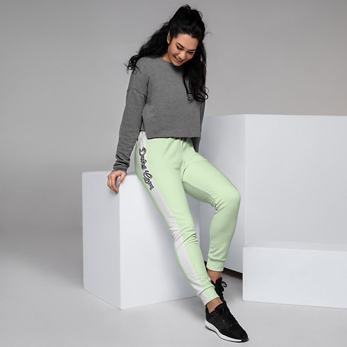 Daves Gym Mint With White Stripe Womens Joggers