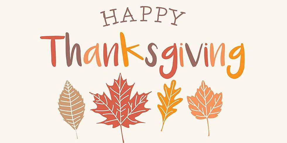 NO CLASS - Happy Thanksgiving!!