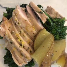 Lemony Baked Chicken Thigh Broccoli Rabe and Roasted Potato