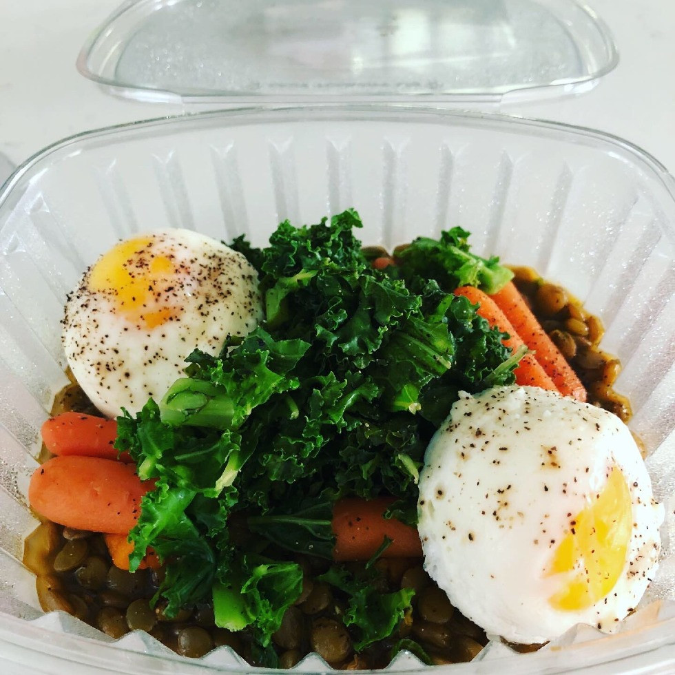 Green Stewed Lentils with Carrots Saute Kale and Poached Eggs