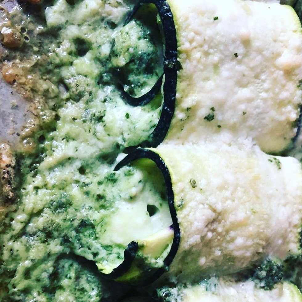 Keto Style Stuffed Zucchini with Ricotta and Parm