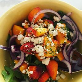 Arugula salad Red Onion Peaches and Feta Cheese