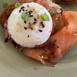 Poached Egg over Smoked Salmon Toast