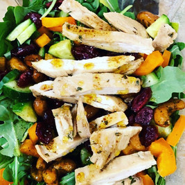 Arugula Salad with Grilled Chicken Cashews Dried Cranberry and Pepper
