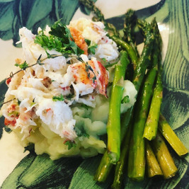 Poached Lobster Smashed Potato and Asparagus