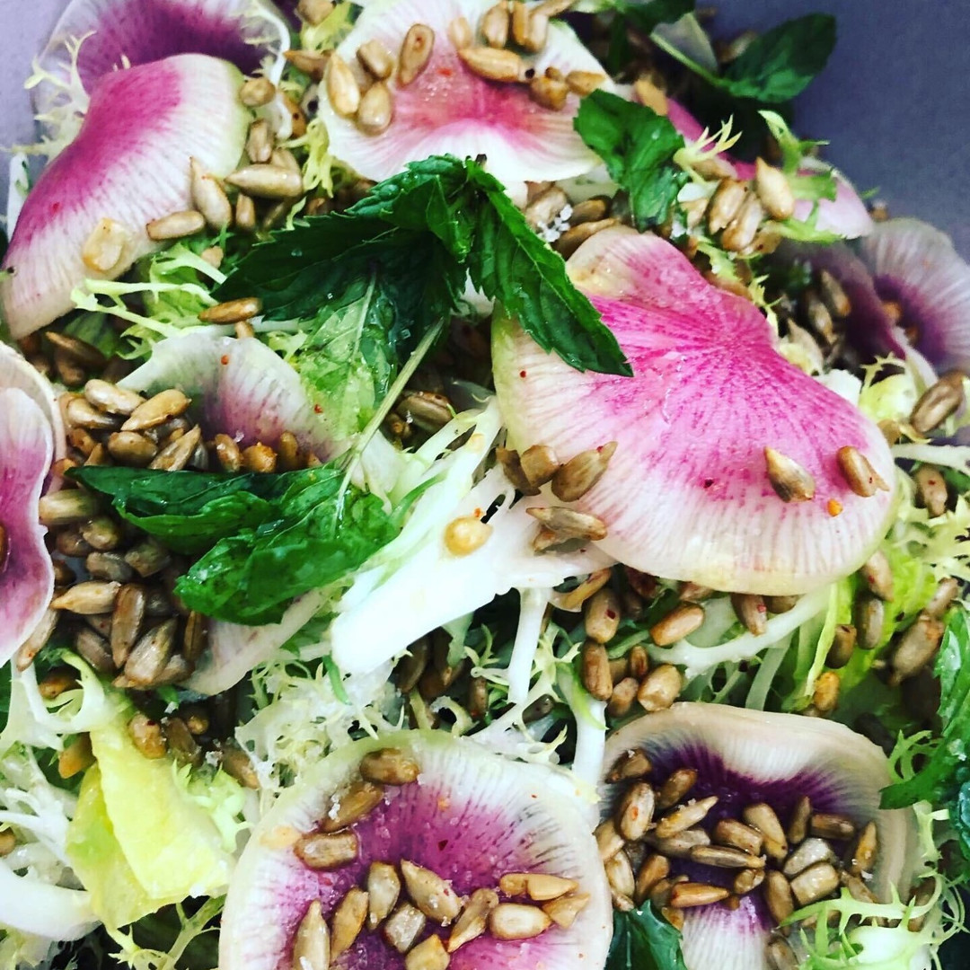 Frisee Endive Salad with Sunflower Seeds Watermelon Radish