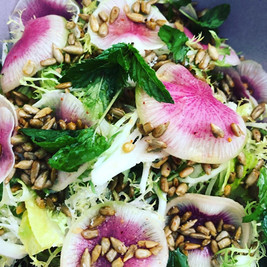 Frisee Endive Salad with Sunflower Seeds Watermelon Radish