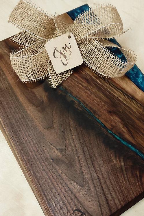 Prkénko z amerického ořechu a cambridge blue 40x30cm
