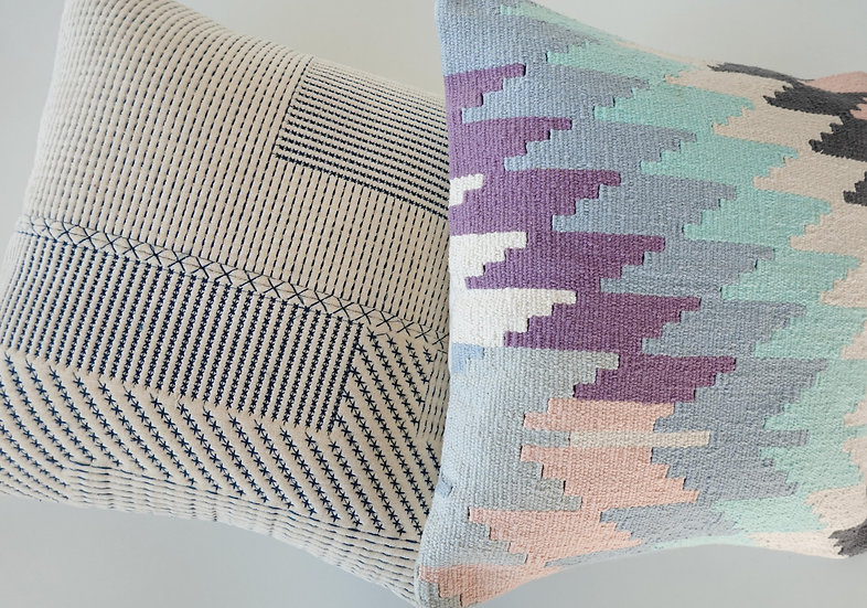 Embroidered Nala & Woven Cludo Cushion Covers