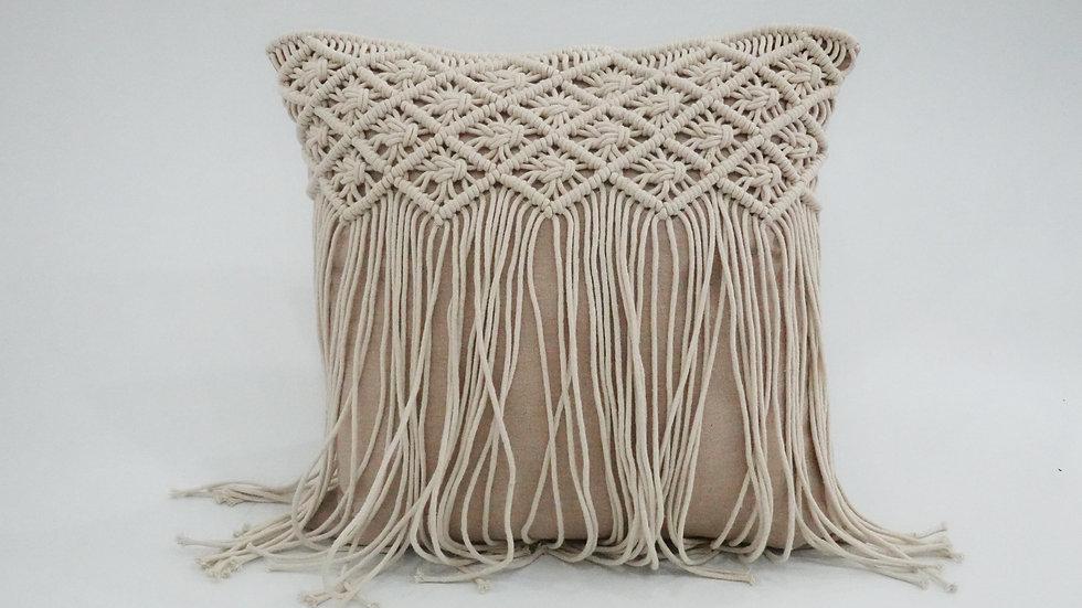 Hand-Knitted Macramé Cushion