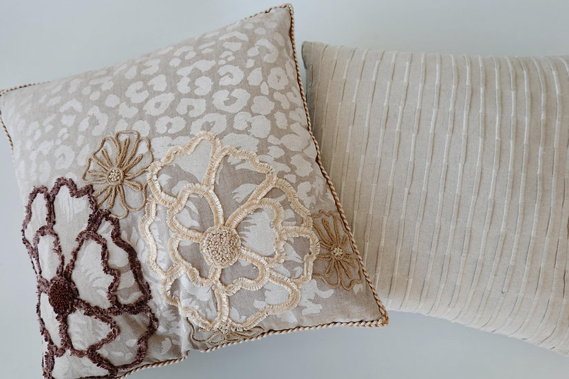 Embroidered Wynn & Keira Cushion Covers