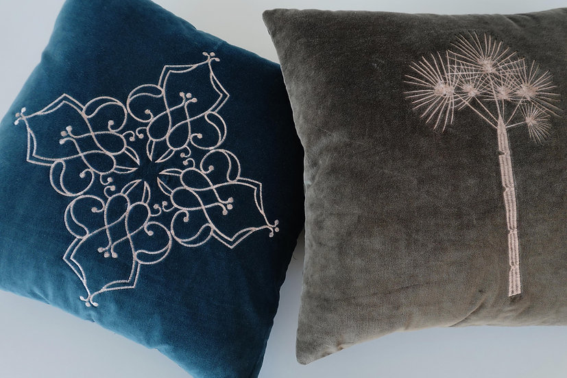 Embroidered Sine and Ren Cushion Covers