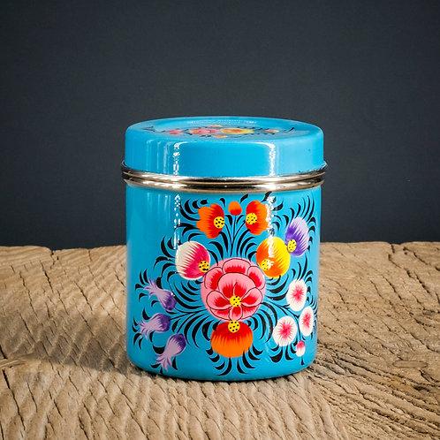 Boîte à thé bleue