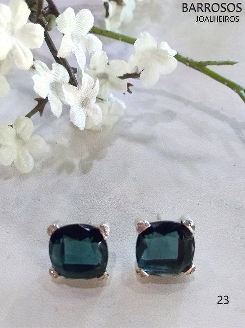 Brincos prata 925%pedras quartzo hidrotermais azul prusia