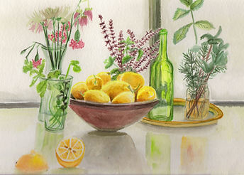Still Life with Bowl of Lemons and Herbs