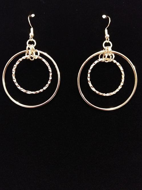 Double Silver Hoops Earrings