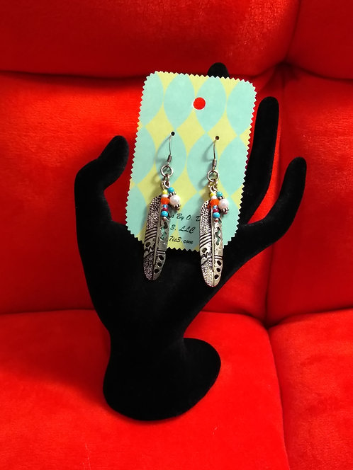 Golden Feathers with Beads Earrings by O. Dori