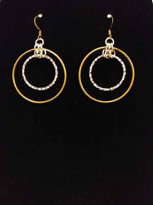 2 Tone Hoops Burnt Brass and Silver Earring
