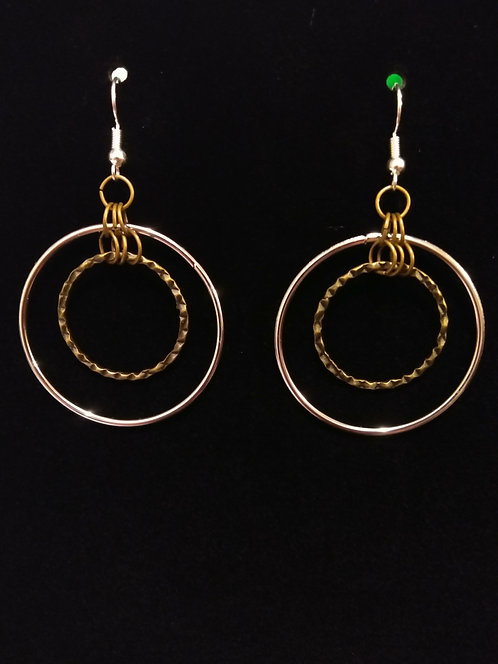 2 tone Hoops Silver and Burnt Brass Earrings