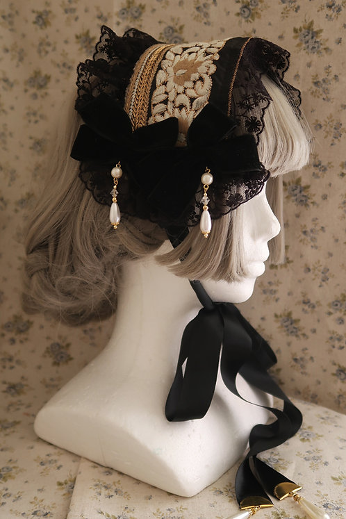 "Minori Headdress ""Victorian Headdress"" Antique Black"