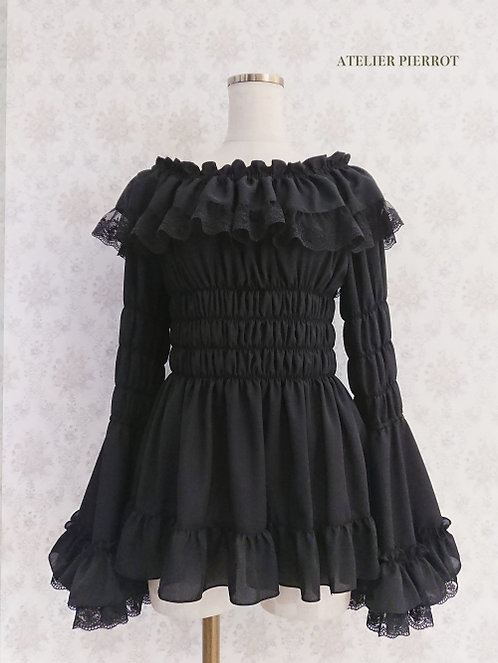 ATELIER PIERROT Lace Shirring Princess Sleeve Blouse