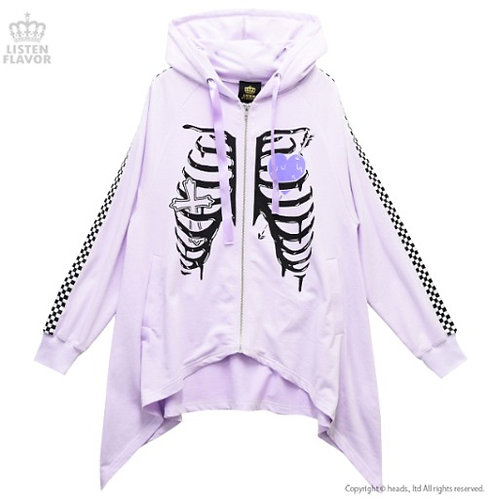 LISTEN FLAVOR SKELETON Line Zip-up Hoodie