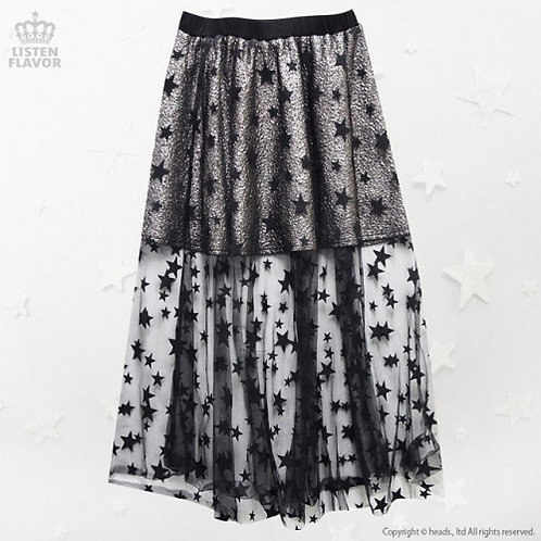 LISTEN FLAVOR Star Tulle Layered See-through Skirt