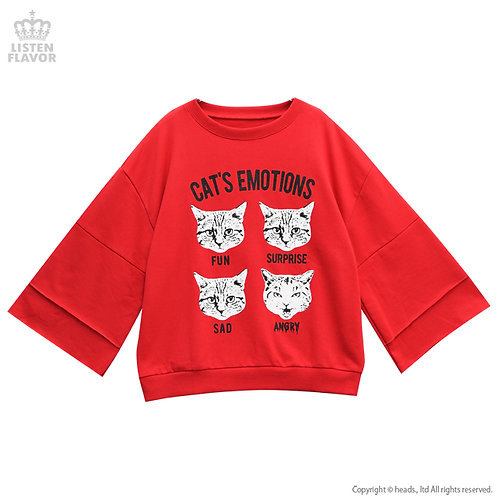 LISTEN FLAVOR CAT'S EMOTIONS Bell Sleeve Pullover